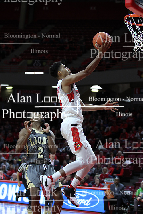 NORMAL, IL - November 24: Zach Copeland hustles past Brad Newman for a lay up during a college basketball game between the ISU Redbirds  and the Lindenwood Lions on November 24 2018 at Redbird Arena in Normal, IL. (Photo by Alan Look)