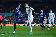 Leeds United midfielder Mateusz Klich (43) fouls Blackburn Rovers defender Ryan Nyambe (2) during the EFL Sky Bet Championship match between Leeds United and Blackburn Rovers at Elland Road, Leeds, England on 9 November 2019.