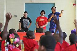 August 4, 2011; Philadelphia, PA; USA; Dominick Cruz and Charlie Brenneman speak to children at the Boys & Girls Club in Philadelphia.