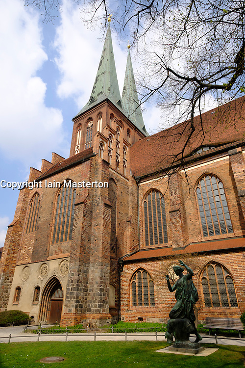 Exterior view of Nikolai Church in Nikolaiviertel historic district in Mitte, Berlin, Germany