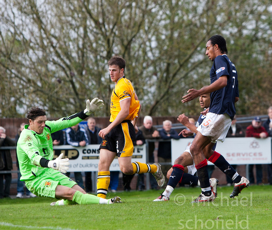 Falkirk's Farid El Alagui scoring their second goal..Annan Athletic 0 v 3 Falkirk. Semi Final of the Ramsdens Cup, 9/10/2011..Pic © Michael Schofield.