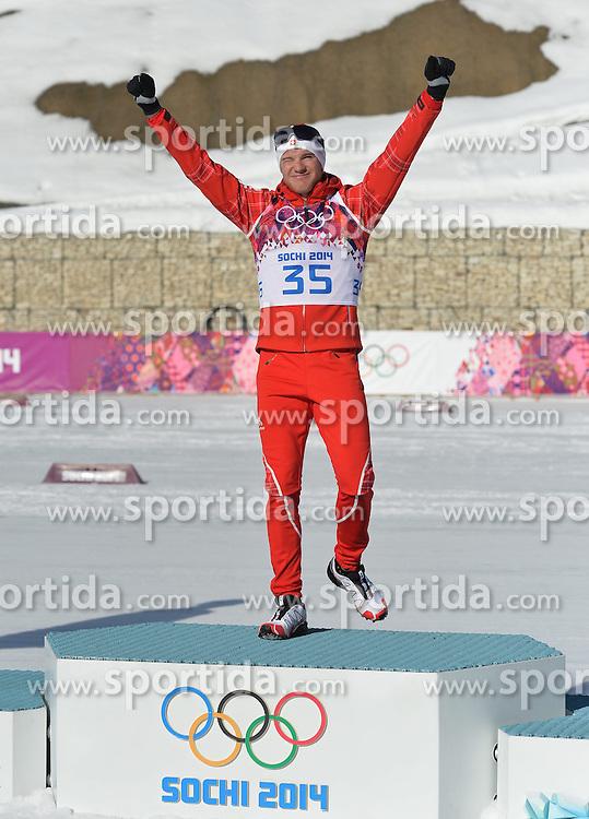 14.02.2014, Laura Cross-country Ski &amp; Biathlon Center, Krasnaya Polyana, RUS, Sochi, 2014, Herren Langlauf 15km, Classic, im Bild COLOGNA DARIO ZLOTY MEDAL PODIUM // COLOGNA DARIO ZLOTY MEDAL PODIUM during Mens Cross Country 15km Classic Race of the Olympic Winter Games Sochi 2014 at the Laura Cross-country Ski &amp; Biathlon Center in Krasnaya Polyana, Russia on 2014/02/14. EXPA Pictures &copy; 2014, PhotoCredit: EXPA/ Newspix/ TOMASZ JAGODZINSKI<br /> <br /> *****ATTENTION - for AUT, SLO, CRO, SRB, BIH, MAZ, TUR, SUI, SWE only*****