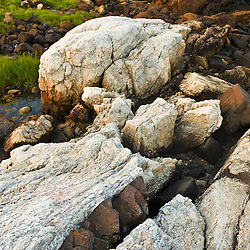 A basalt dike intrusion in the bedrock on the New Hampshire Seacoast. Odiorne Point State Park, Rye, New Hampshire.