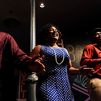 Khawon Porter, left, Joy Gregory, center, and Nygel Robinson rehearse before a performance of Smokey Joe's Cafe Sunday June 15, 2014 at the Scottish Rite Theater in Wilmington, N.C. (Jason A. Frizzelle)