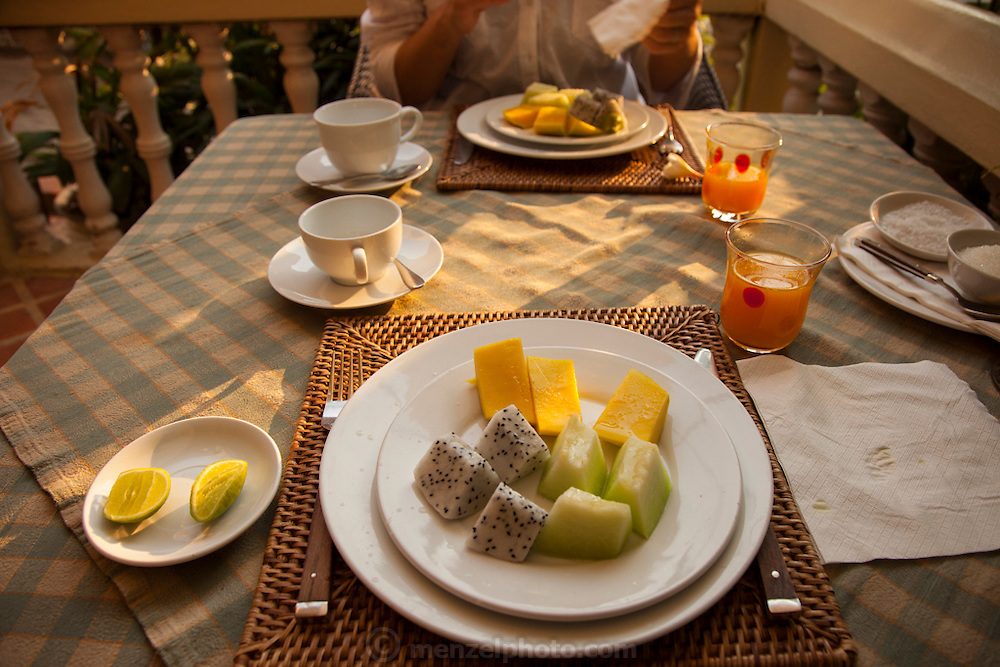 Breakfast at the Apsara Guest House in Luang Prabang, Laos.