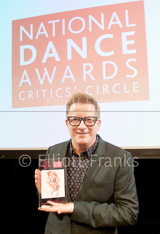 The Critics' Circle National Dance Awards 2015 <br /> at The Place, London, Great Britain <br /> 25th January 2016 <br /> <br /> <br /> Sir Matthew Bourne <br /> Winner <br /> Award for Outstanding Company - New Adventures  <br /> <br /> Photograph by Elliott Franks <br /> Image licensed to Elliott Franks Photography Services