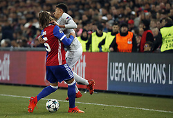 BASEL, Nov. 23, 2017  Manchester United's Jesse Lingard (R) vies with Basel's Michael Lang during the UEFA Champions League group A match between Basel and Manchester United in Basel, Switzerland, Nov. 22, 2017. Basel won 1-0. (Credit Image: © Ruben Sprich/Xinhua via ZUMA Wire)