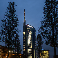 MILAN - NOV 8 -  Unicredit Tower headquarter office building at night with  illuminated windows in Porta Nuova, Milan, Italy on November 8, 2018.