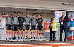Riders of Wiggle Honda with Danielle King and Jolien D'Hoore on the podium for the sign-on at the Holland Ladies Tour, Zeddam, Gelderland, The Netherlands, 1 September 2015.<br /> Photo: Pim Nijland / PelotonPhotos.com
