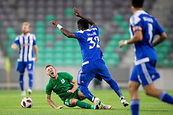 Matic Crnic of NK Olimpija Ljubljana and Faith Obilor of HJK Helsinki during 1st Leg football match between NK Olimpija Ljubljana and HJK Helsinki in 3rd Qualifying Round of UEFA Europa League 2018/19, on August 9, 2018 in SRC Stozice, Ljubljana, Slovenia. Photo by Urban Urbanc / Sportida