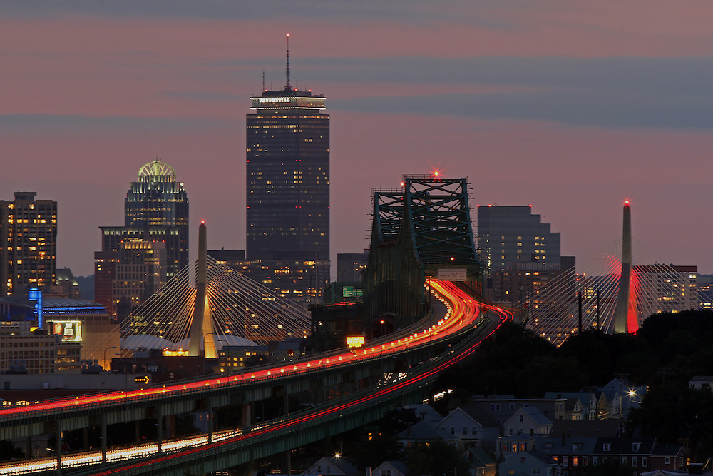 This Boston photo image is available as museum quality photography prints, canvas prints, acrylic prints or metal prints. Prints may be framed and matted to the individual liking and decorating needs: <br /> <br /> http://juergen-roth.pixels.com/featured/amazing-boston-juergen-roth.html<br /> <br /> Beautiful Boston skyline night photography from award winning Boston fine art photographer Juergen Roth. The Boston skyline photography image was taken from Malone Park in the Boston neighborhood of Chelsea, Massachusetts featuring familiar Boston landmarks such as Boston Downtown, Prudential Center and famous historical landmarks such as the Zakim Bridge, Tobin Bridge and TD Bank Northgarden captured on a beautiful sunset night at twilight. <br /> <br /> Good light and happy photo making! <br /> <br /> My best, <br /> <br /> Juergen<br /> Website: www.RothGalleries.com<br /> Twitter: @NatureFineArt<br /> Facebook: https://www.facebook.com/naturefineart<br /> Instagram: https://www.instagram.com/rothgalleries