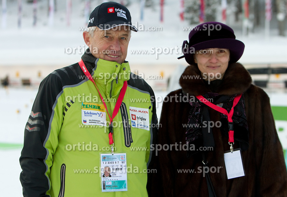 Peter Zupan and Mojca Ferjancic Podbregar, general secretary of MORS during the Women 7,5 km Sprint of the e.on IBU Biathlon World Cup on Saturday, December 18, 2010 in Pokljuka, Slovenia. The fourth e.on IBU World Cup stage is taking place in Rudno polje - Pokljuka, Slovenia until Sunday December 19, 2010. (Photo By Vid Ponikvar / Sportida.com)