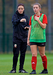 NEWPORT, WALES - Tuesday, November 6, 2018: Wales' Women's assistant coach Lauren Smith and Caitlin Bevan during a training session at Dragon Park ahead of two games against Portugal. (Pic by Paul Greenwood/Propaganda)