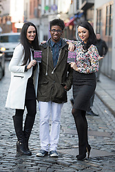 Repro Free: 04/02/2013.Jerry IwU (age 16) from Newbridge pictured with models Maire Hughes and Tara Talbot at an event to mark Safer Internet Day and to launch A new cyber bullying report. Safer Internet Day 2013 marks the launch of two new initiatives for 2013 - The 'Watch your Space' public awareness anti cyber-bullying campaign and a new Garda Primary Schools Programme module 'Connect with Respect', which deals with online bullying. For further information visit, www.watchyourspace.ie. Picture Andres Poveda