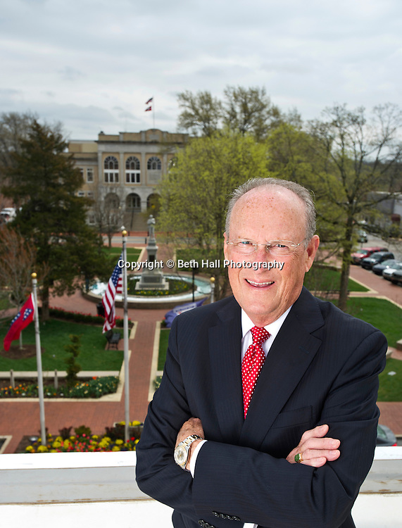 Editorial photography of Bob McCaslin, Mayor of Bentonville, Arkansas, overlooking the downtown Bentonville square.<br />