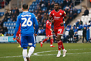 Beryly Lubala in action during the EFL Sky Bet League 2 match between Colchester United and Crawley Town at the JobServe Community Stadium, Colchester, England on 1 January 2020.