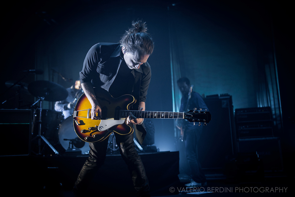 Thom Yorke with Radiohead playing live at the roundhouse in London on 27 May 2016 touring the latest album A Moon Shaped Pool.<br />