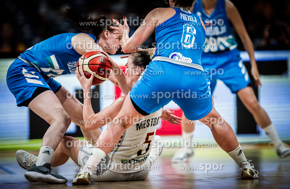 Marusa Senicar of Slovenia vs Kim Mestdagh of Belgium during basketball match between Women National teams of Belgium and Slovenia in the Qualification for the Quarter-Finals of Women's Eurobasket 2019, on July 2, 2019 in Belgrade Arena, Belgrade, Serbia. Photo by Vid Ponikvar / Sportida