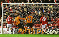Kortney Hause of Wolverhampton Wanderers scores his sides first goal  - Mandatory by-line: Matt McNulty/JMP - 31/01/2017 - FOOTBALL - Oakwell Stadium - Barnsley, England - Barnsley v Wolverhampton Wanderers - Sky Bet Championship