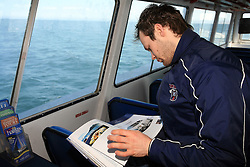 Andrej Hebar at whale watching boat, when some guys of Slovenian Team were celebrating an anniversary of playing for the team, during IIHF WC 2008 in Halifax,  on May 07, 2008, sea at Halifax, Nova Scotia, Canada. (Photo by Vid Ponikvar / Sportal Images)