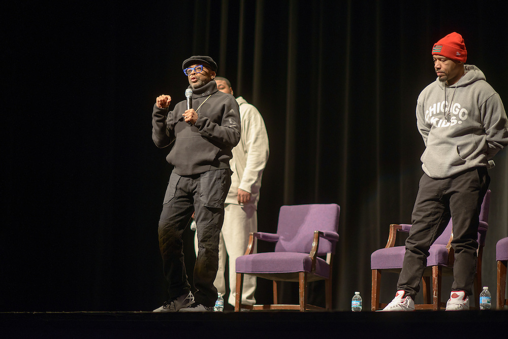 "Spike Lee talks following the screening of his film ""Chi-Raq"" Wednesday, March 2, 2016, at Northwestern University's Cahn Auditorium in Evanston. (Photo by Rob Hart for Northwestern University)"