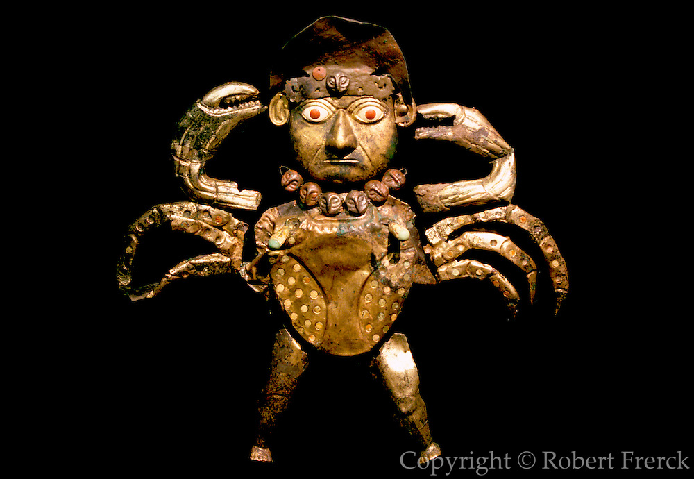 PERU, PREHISPANIC, GOLD Mochica; Lord of Sipan 'crab-man'