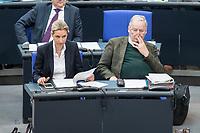 21 MAR 2019, BERLIN/GERMANY:<br /> Alice Weidel (L), AfD Fraktionsvorsitzende. und Dr. Alexander Gauland, AfD-Fraktionsvorsitzender, Bundestagsdebatte zur Regierungserklaerung der Bundeskanzlerin zum Europaeischen Rat, Plenum, Deutscher Bundestag<br /> IMAGE: 20190321-01-129