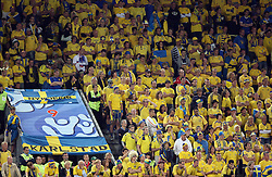 Fans of Sweden during the UEFA EURO 2008 Group D soccer match between Sweden and Russia at Stadion Tivoli NEU, on June 18,2008, in Innsbruck, Austria. Russia won 2:0. (Photo by Vid Ponikvar / Sportal Images)