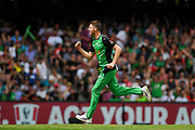 17th February 2019, Marvel Stadium, Melbourne, Australia; Australian Big Bash Cricket League Final, Melbourne Renegades versus Melbourne Stars; Jackson Bird of the Melbourne Stars celebrates taking the opening wicket of the game