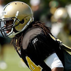 July 31, 2010; Metairie, LA, USA; New Orleans Saints cornerback Patrick Robinson (34) during a training camp practice at the New Orleans Saints practice facility. Mandatory Credit: Derick E. Hingle