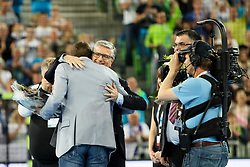 Uros Zorman and Franjo Bobinac during handball match between National Teams of Slovenia and Germany in 2018 Men's World Championship Qualifications, on May 3, 2017 in SRC Stozice, Ljubljana, Slovenia. Photo by Morgan Kristan / Sportida