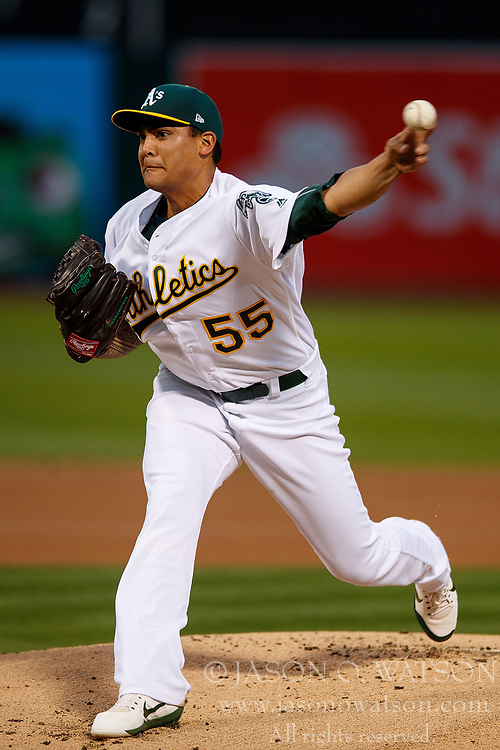 OAKLAND, CA - APRIL 04:  Sean Manaea #55 of the Oakland Athletics pitches against the Los Angeles Angels of Anaheim during the first inning at the Oakland Coliseum on April 4, 2017 in Oakland, California. The Los Angeles Angels of Anaheim defeated the Oakland Athletics 7-6. (Photo by Jason O. Watson/Getty Images) *** Local Caption *** Sean Manaea