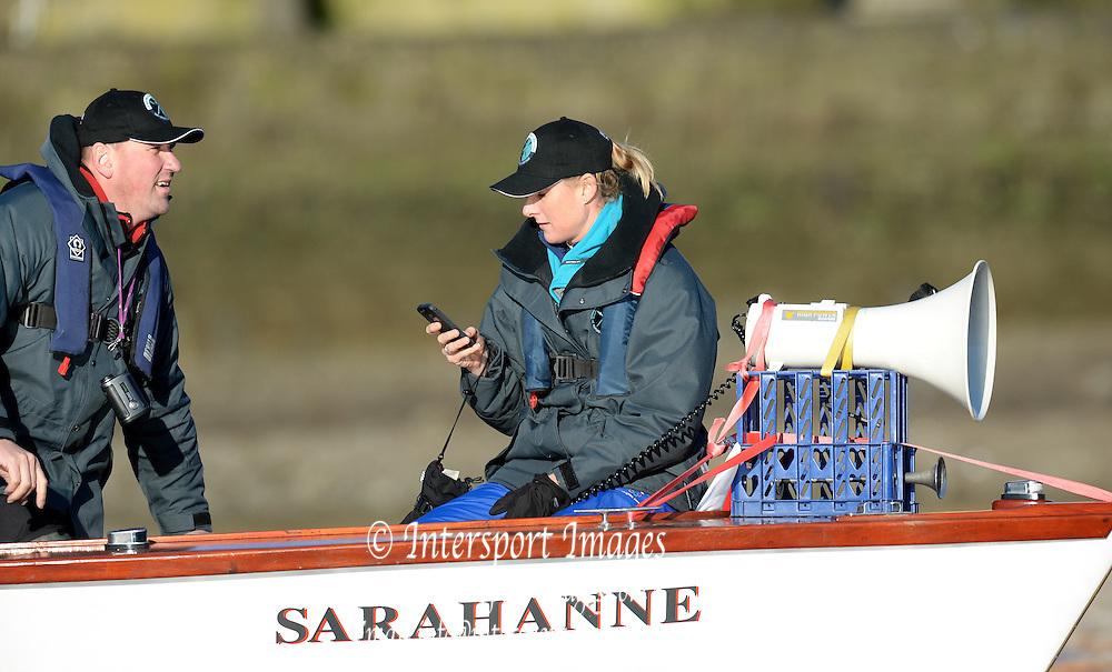 Putney, Greater London, United Kingdom.  2013 Women's University Trial Eights, Umpire, Right, Sarah WINCKLESS, left Sir Matthew PINSENT,    Thursday  19/12/2013 [Mandatory Credit; Peter Spurrier/Intersport-images]