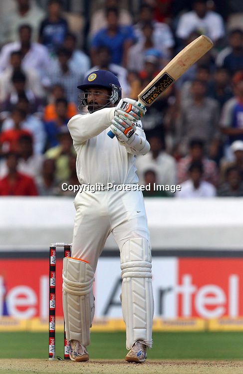 Indian batsman Harbhajan Singh plays a shot against New Zealand during the 2nd test match India vs New Zealand Played at Rajiv Gandhi International Stadium, Uppal, Hyderabad 14, November 2010 (5-day match)