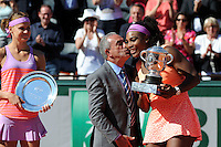 Serena WILLIAMS / Lucie SAFAROVA / Jean GACHASSIN  - 06.06.2015 - Jour 14 - Finale Femmes - Roland Garros 2015<br /> Photo : Nolwenn Le Gouic / Icon Sport