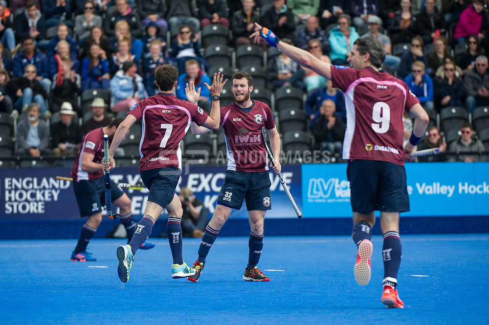Wimbledon celebrate scoring the opening goal. Wimbledon v Surbiton - Men's Hockey League Final, Lee Valley Hockey & Tennis Centre, London, UK on 23 April 2017. Photo: Simon Parker