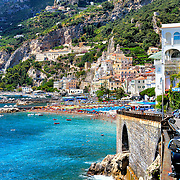 Building on cliffside and marina, Amalfi, Amalfi Coast, Italy