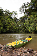Iban longboat or Temuai on the Temburong river in Ulu Temburong National Park, Brunei
