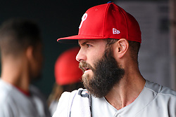 May 6, 2018 - Washington, DC, U.S. - WASHINGTON, DC - MAY 06:  Philadelphia Phillies starting pitcher Jake Arrieta (49) stands in the dugout during the game between the Philadelphia Phillies  and the Washington Nationals on May 6, 2018, at Nationals Park, in Washington D.C.  The Washington Nationals defeated the Philadelphia Phillies, 5-4.  (Photo by Mark Goldman/Icon Sportswire) (Credit Image: © Mark Goldman/Icon SMI via ZUMA Press)