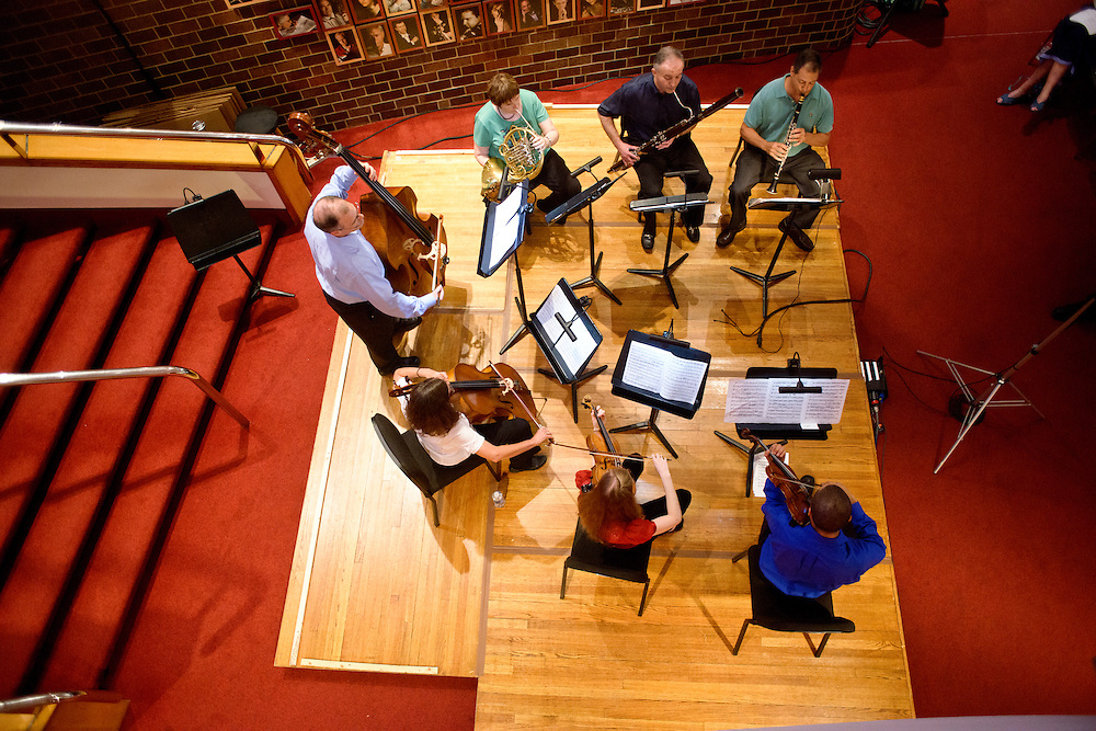 (photo by Matt Roth).Assignment ID: 30127886A..BSO Academy Chamber music group performs the Adagio cantabile section of Beethoven's Septet in E-flat Major, Op. 20 during the third annual BSO Academy's Chamber Music Concert at the Meyerhof Symphony Hall Friday, June 29, 2012. Chamber members are (clockwise from bottom right) Matt DeBeal, violin student, Karin Brown, BSO violist, Peg Beyer, cello student, Bruce Rosenblum, bass student, Christina Barkan, French horn student, Harry Kaplan, bassoon student, and Dan Wakin, clarinet student.