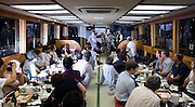 "Customers enjoy dinner and entertainment aboard a ""Yakata-bune"" pleasure boat run by the Yasuda family in Tokyo, Japan on 30 August  2010. .Photographer: Robert Gilhooly"