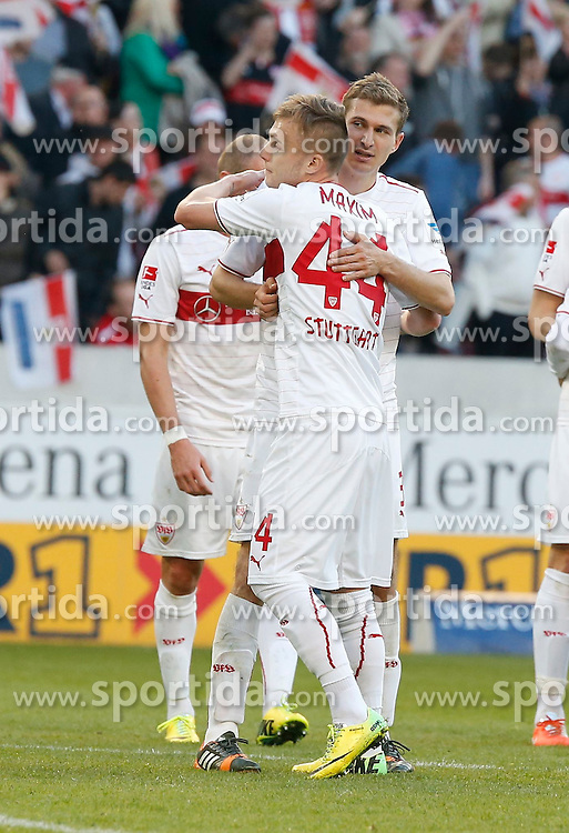 20.04.2014, Mercedes Benz Arena, Stuttgart, GER, 1. FBL, VfB Stuttgart vs Schalke 04, 31. Runde, im Bild Freude bei Alexandru Maxim (VfB Stuttgart), Daniel Schwaab (VfB Stuttgart) // during the German Bundesliga 31th round match between VfB Stuttgart and Schalke 04 at the Mercedes Benz Arena in Stuttgart, Germany on 2014/04/20. EXPA Pictures &copy; 2014, PhotoCredit: EXPA/ Eibner-Pressefoto/ BW-FOTO<br /> <br /> *****ATTENTION - OUT of GER*****