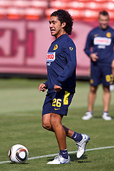 August 3, 2010; San Francisco, CA, USA;  Club America midfielder Juan Carlos Silva (26) practices at Candlestick Park a day before their match with Real Madrid.