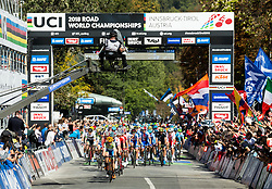 Jan Tratnik of Slovenia leading the peloton during the Men's Elite Road Race a 258.5km race from Kufstein to Innsbruck 582m at the 91st UCI Road World Championships 2018 / RR / RWC / on September 30, 2018 in Innsbruck, Austria. Photo by Vid Ponikvar / Sportida