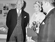 Prince Rainier and Princess Grace visit Ireland. The royal couple take in an art exhibition in Brown Thomas on Grafton Street, with Senator Edward McGuire, Dublin..12.06.1961