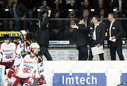 "22.03.2012, Keine Sorgen Eisarena, Linz, AUT, EBEL, EHC Liwest Black Wings Linz vs EC KAC, Playoff, Finale, 1. Spiel, im Bild Christian Webercoach KAC celebrates the victory, during the final match of ""Erste Bank Icehockey League"", first encounter between EHC Liwest Black Wings Linz and EC KAC at Keine Sorgen Eisarena, Linz, Austria on 2012/03/22, EXPA Pictures © 2012, PhotoCredit: EXPA/ R.Eisenbauer"
