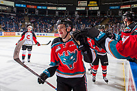 KELOWNA, CANADA - OCTOBER 28: Libor Zabransky #7 of the Kelowna Rockets skates past the bench and fist bumps teammates to celebrate a goal against the Prince George Cougars on October 28, 2017 at Prospera Place in Kelowna, British Columbia, Canada.  (Photo by Marissa Baecker/Shoot the Breeze)  *** Local Caption ***