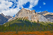 The President Range at Emerald Lake. Canadian Rocky Mountains<br />Yoho National Park<br />Alberta<br />Canada