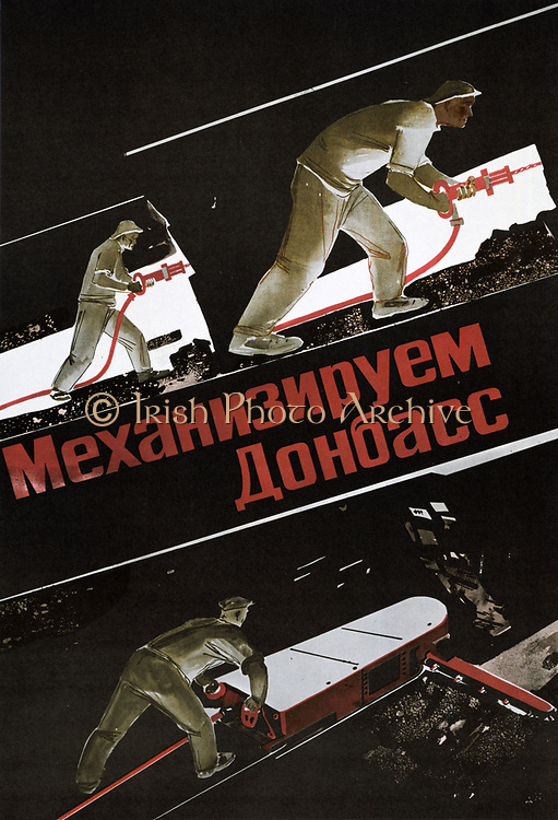 Russian  coal miners working underground using drills and a coal-cutting machine.  Poster c1930.