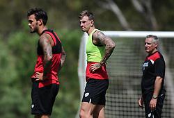 Marlon Pack of Bristol City (left) and Aden Flint of Bristol City (centre)  - Photo mandatory by-line: Joe Meredith/JMP - Mobile: 07966 386802 - 16/07/2015 - SPORT - Football - Albufeira -  - Pre-Season Training